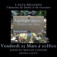 Vendredi 25 Mars  – Concert de Musique Médiévale à la Scène du Moulin à Poivre
